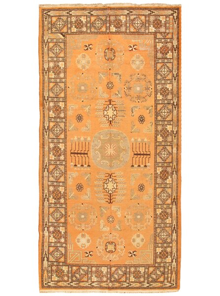 Khotan Antique Hand Knotted Wool Orange/Brown Area Rug by Pasargad