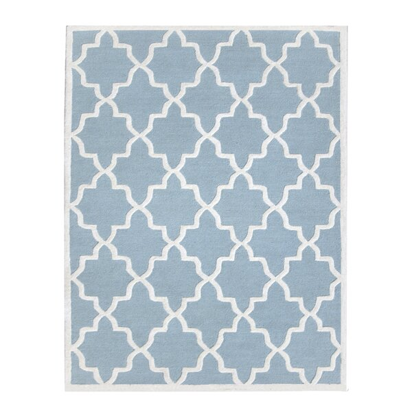 Siesta Arcade Hand-Tufted Aqua Blue Area Rug by DecorShore