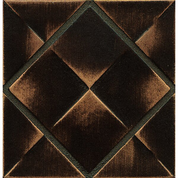 Ambiance Insert Matrix City 4 x 4 Resin Tile in Venetian Bronze by Bedrosians