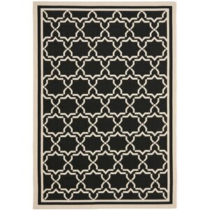 Short Black & Beige Area Rug
