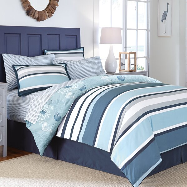 Jancis Stripe Reversible Comforter Set by Highland Dunes
