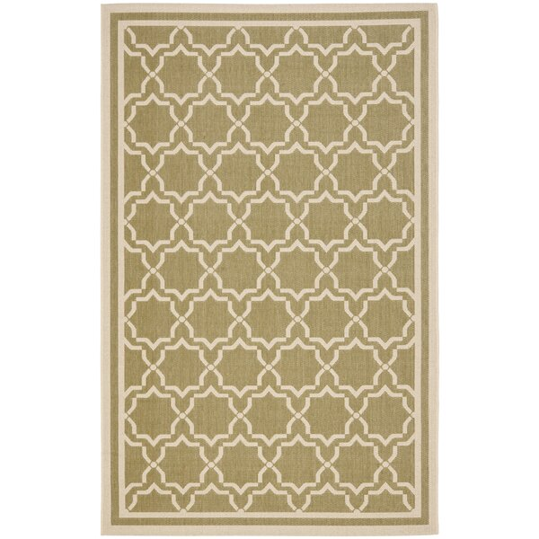 Short Green/Beige Indoor/Outdoor Rug by Winston Porter