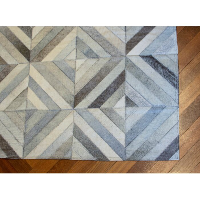 Easthampton Hand Woven Cowhide Leather Ivory Area Rug