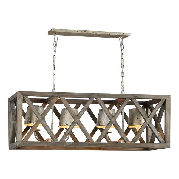 Ramona 4 - Light Shaded Square / Rectangle Chandelier with Wood Accents by Gracie Oaks Gracie Oaks