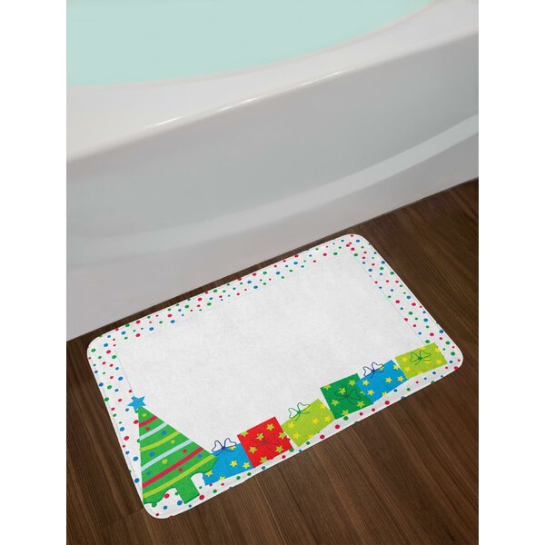 Happy Christmas and New Year Theme Pine Tree Surprise Boxes Border with Dots Bath Rug by East Urban Home