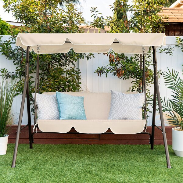 Romilda Outdoor Convertible Canopy Swing Glider Bench with Cushions by Red Barrel Studio