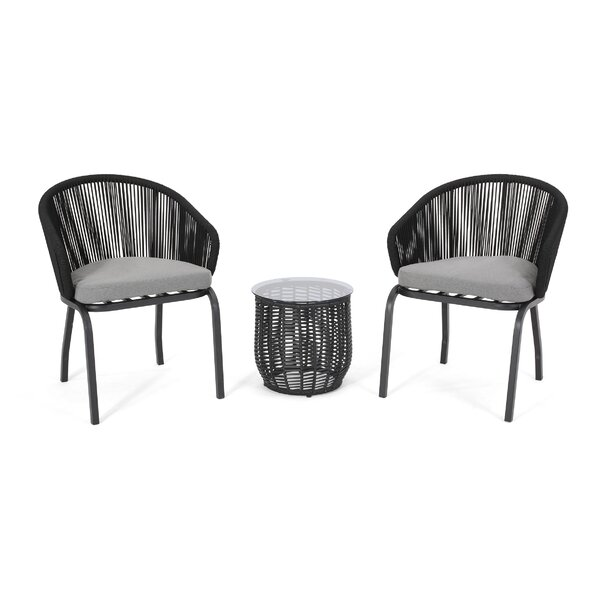 Legion Outdoor 3 Piece Seating Group with Cushions by Bloomsbury Market