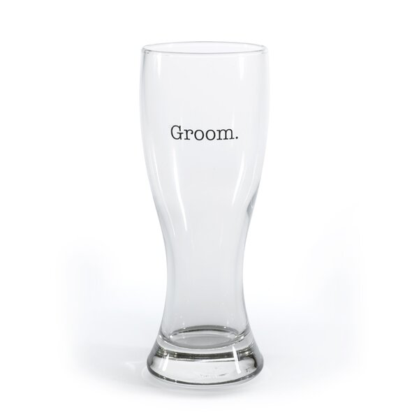 Pilsners Groom 20 oz. Print Glasses by The Holiday Aisle
