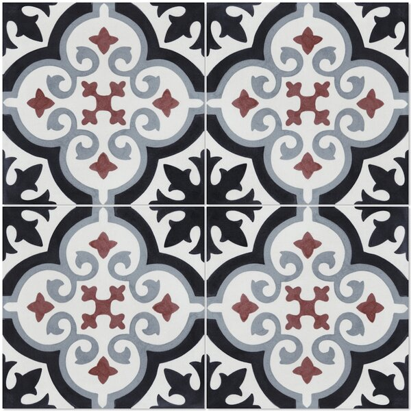 Fiore E Winter 8 x 8 Cement Field Tile in Black/White by Villa Lagoon Tile