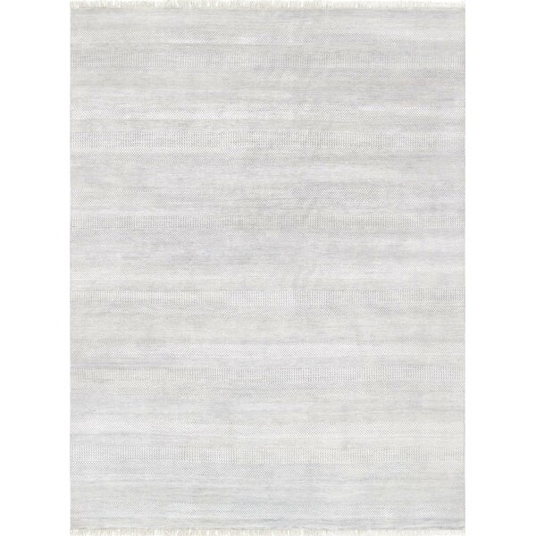 Pasargad Hand-Knotted Silk and Wool Gray Area Rug by Pasargad