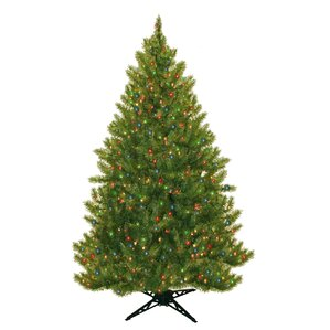 65 evergreen fir artificial christmas tree with 450 multicolored lights - 7 Pre Lit Christmas Tree
