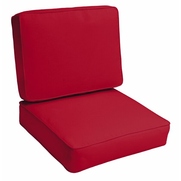 Crimson Piped 2 Piece Indoor/Outdoor Lounge Chair Cushion Set by Red Barrel Studio