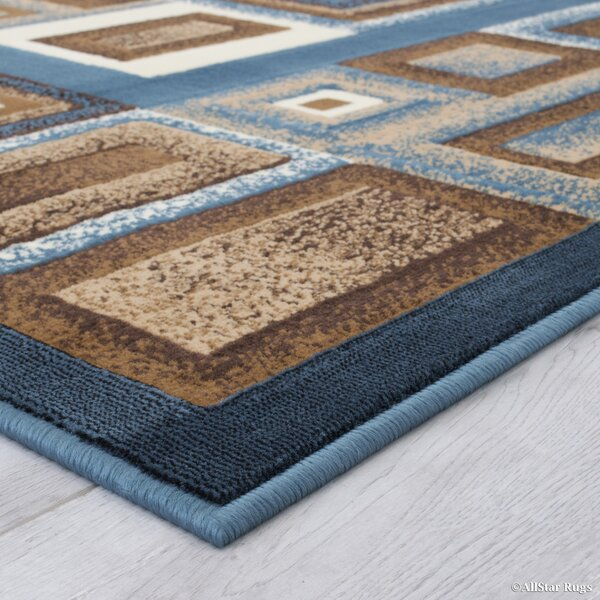 Weber Bordered Aqua Area Rug by Ebern Designs