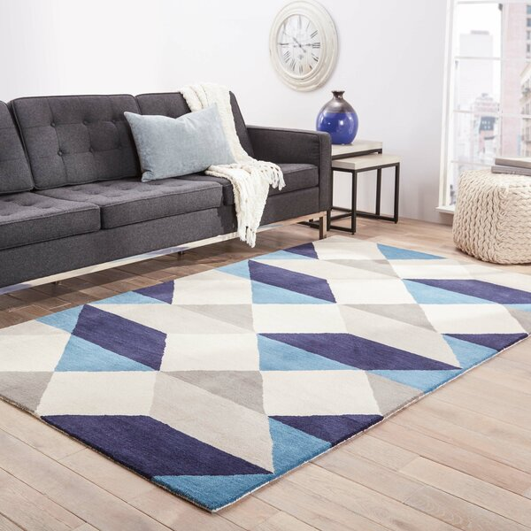Benson Gray/Blue Geometric Area Rug by Wrought Studio