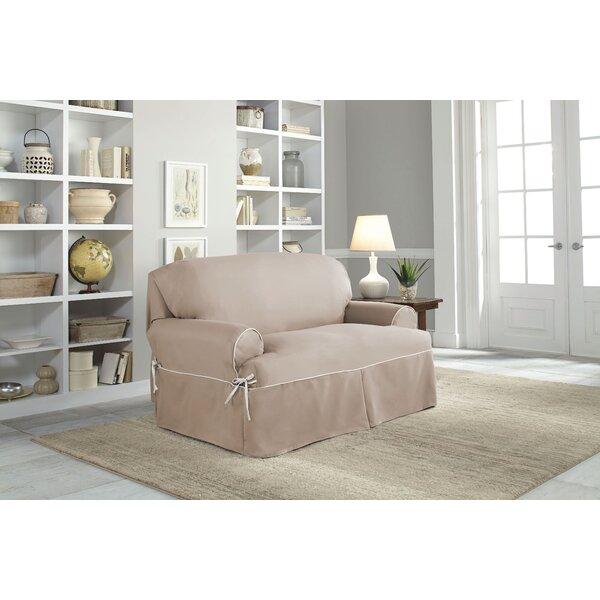 Twill T-Cushion Loveseat Slipcover by Serta