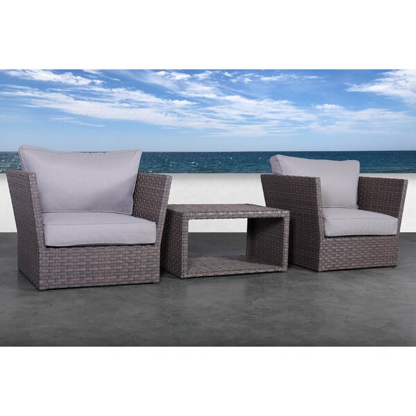 Cody 3 Piece Rattan 2 Person Seating Group with Cushions by Rosecliff Heights