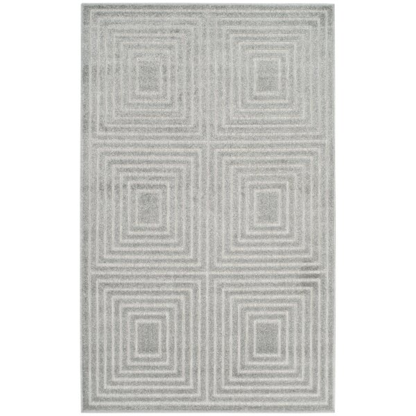 Parsons Cool Gray/White Indoor/Outdoor Area Rug