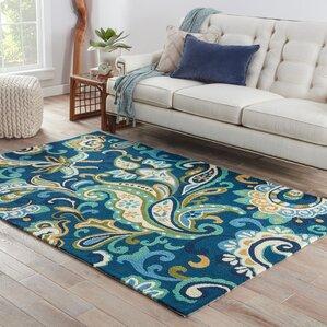 Aurora Blue U0026 Yellow Indoor/Outdoor Area Rug