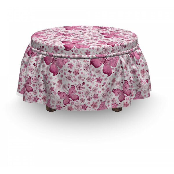 Butterfly Flowers 2 Piece Box Cushion Ottoman Slipcover Set By East Urban Home