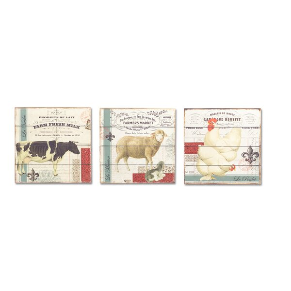 Farm Animal 3 Piece Graphic Art on Wood Set by Melrose International