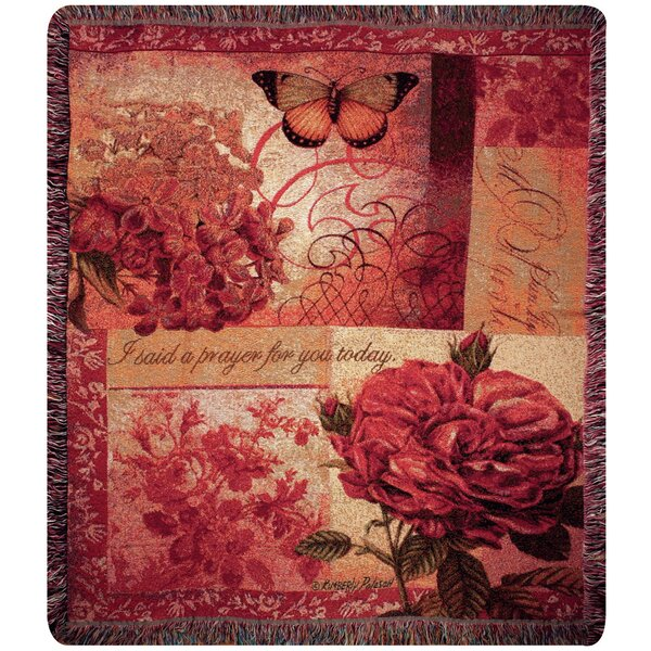 Spring Blooms Verse Tapestry Cotton Throw by Manual Woodworkers & Weavers