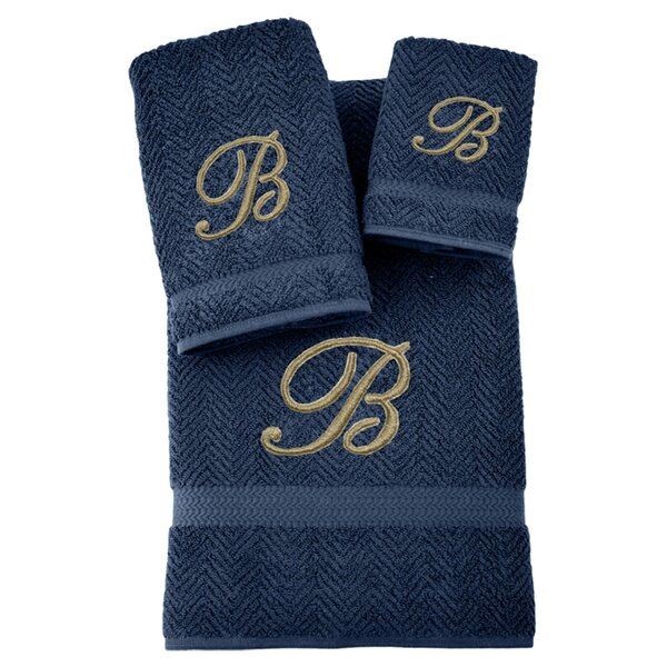 3-Piece Personalized Herringbone Towel Set in Midnight by Linum Home Textiles