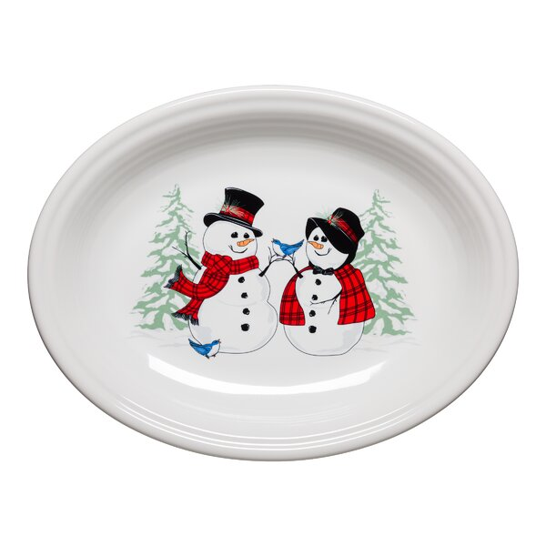 Snowman and Lady Oval Platter by Fiesta