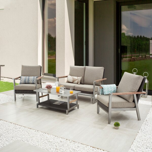 Seden Outdoor 4 Piece Sofa Seating Group with Cushions by Latitude Run