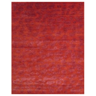 One-of-a-Kind Lafon Hand-Knotted 9' x 12' Red Area Rug by World Menagerie