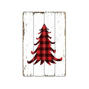 buffalo plaid xmas tree wooden sign wall dcor - Buffalo Check Christmas Decor