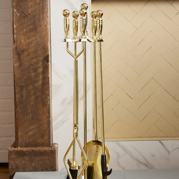 4 Piece Polished Brass Fireplace Tool Set With Stand by Uniflame Corporation