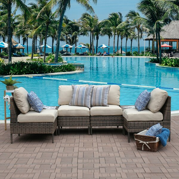 Sevilla Outdoor 4 Piece Rattan Sofa Seating Group with Cushions by Breakwater Bay