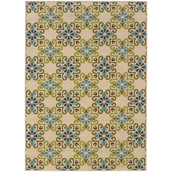 Mitzel Ivory/Blue Indoor/Outdoor Area Rug by Red Barrel Studio