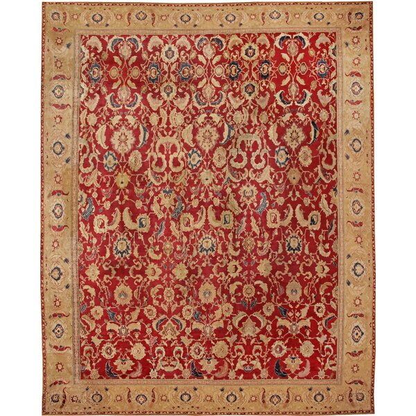 One-of-a-Kind Indian Hand-Knotted Before 1900 Agra Gold 16'7 x 20'10 Wool Area Rug