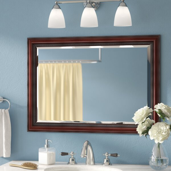 Mitchem Traditional Cherry Bathroom/Vanity Wall Mirror by Three Posts