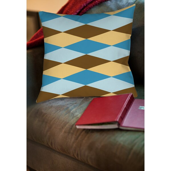 Bold in Blue Argyle Printed Throw Pillow by Manual Woodworkers & Weavers