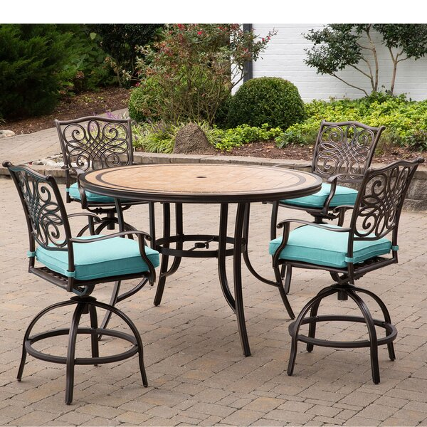 Bucci 5 Pieces High-Dining Set With Cushions By Fleur De Lis Living