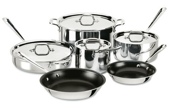 D3 10-Piece Non-Stick Stainless Steel Cookware Set by All-Clad