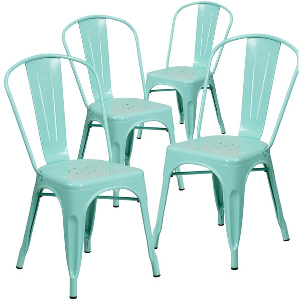 Armless Stacking Dining Side Chair (Set of 4) by Flash Furniture