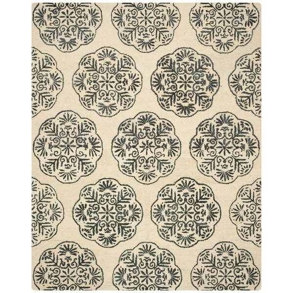 Rudra Ivory/Charcoal Area Rug by Bungalow Rose