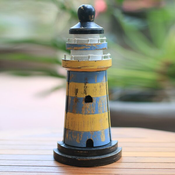 Wood Lighthouse Theme Key Holder Sculpture by Novica