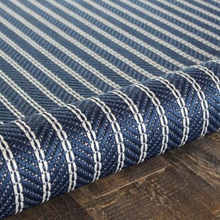 Check Prices Zainab Striped Blue/White Indoor/Outdoor Area Rug By Highland Dunes