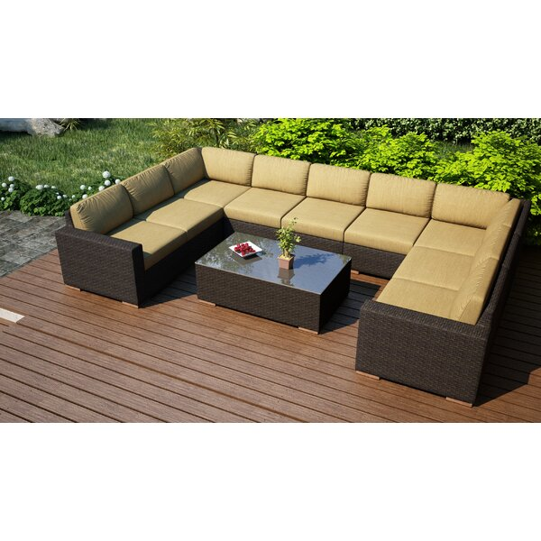 Hodge 10 Piece Surround Sectional Set with Cushions by Rosecliff Heights
