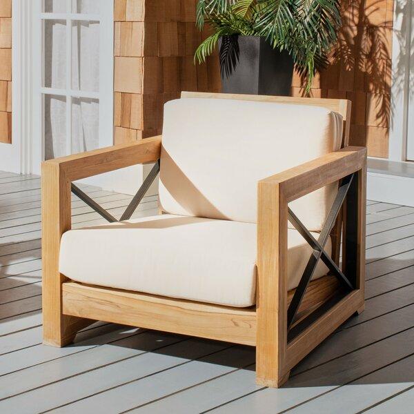 Curacao Club Teak Patio Chair with Cushions by Safavieh
