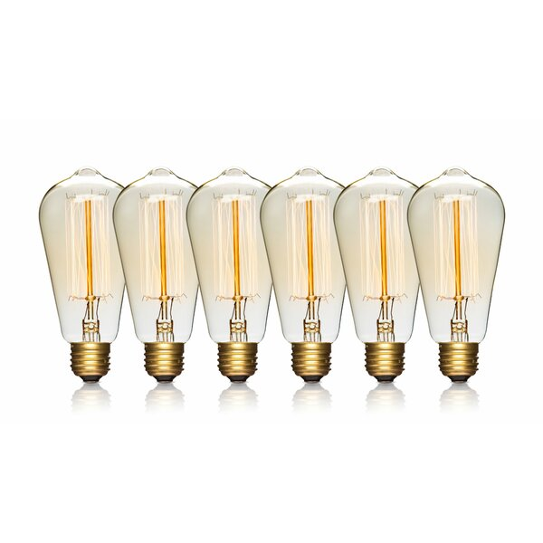 60W E26/Medium Vintage Incandescent Filament Light Bulb (Set of 6) by LightLady Studio
