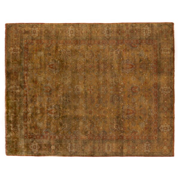 Traditional Hand-Knotted Wool Yellow/Orange Area Rug by Exquisite Rugs