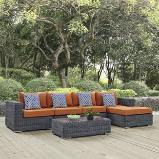 Keiran 5 Piece Rattan Sunbrella Sectional Set with Cushions By Brayden Studio
