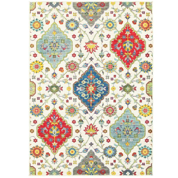 Mansi Beige/Blue/Red Area Rug by Bungalow Rose
