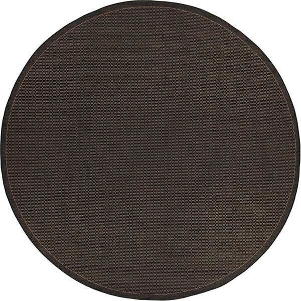 Ariadne Saddle Stitch Hand-Woven Black Cocoa Indoor/Outdoor Area Rug by Charlton Home