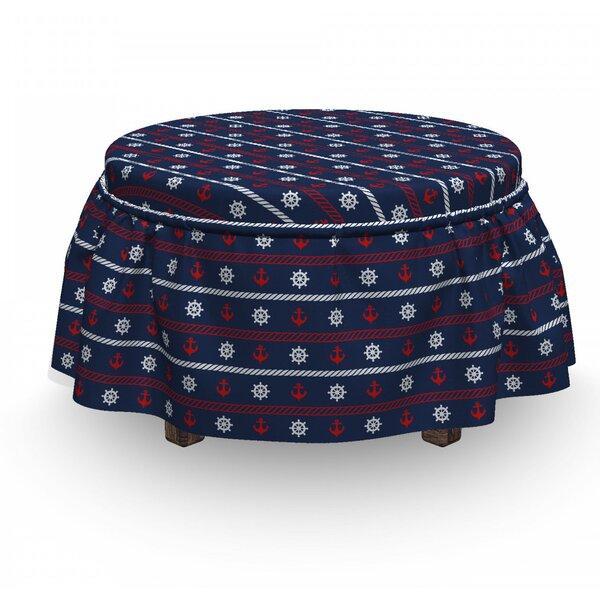 Nautical Borders 2 Piece Box Cushion Ottoman Slipcover Set By East Urban Home